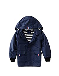 Hiheart Boys Girls Rain Waterproof Jacket Zip Hooded Jacket Outer Coat