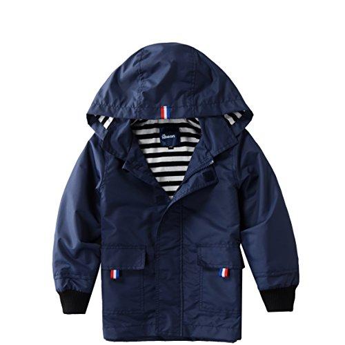 Blue Lined Jacket - Hiheart Boys Waterproof Hooded Jackets Cotton Lined Rain Jackets Dark Navy 8/9