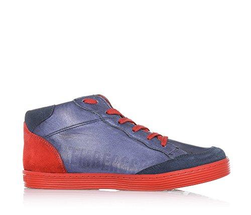 BIKKEMBERGS - Blau/rote Sneaker mit Schnürsenkel, aus Leder und Wildleder, seitlich ein Reißverschluss, sichtbare Nähte und Gummisohle, Jungen