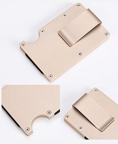 SUNTQ Metal Wallet Credit Card Holder Travel Minimalist Wallet,Business Aluminum Slim Money Clip Wallet with RFID Blocking (Gold)