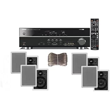 "Yamaha 3D-Ready 5.1-Channel 500 Watts Digital Home Theater Audio/Video Receiver with 1080p-compatible HDMI repeater & Upgraded CINEMA DSP With a USB Digital Input and Connecting Cable to Play & Charge Your iPod or iPhone & Control Remotely+ Yamaha Custom Easy-to-install Natural Sound In-Wall Flush Mount 3-Way 150 watt Speakers (Set of 4) with a 1"" Swivel Titanium Dome Tweeter, 1-5/8"" Swivel Aluminum Dome Midrange Driver & 6.5"" Kevlar Cone Woofer + 100ft 16 AWG Speaker Wire"