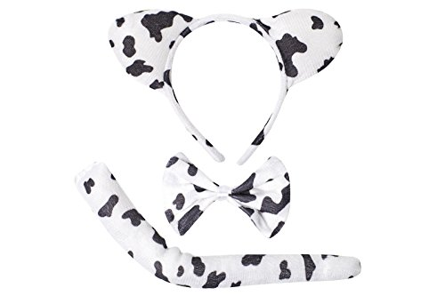 [Cute Animal Headband Ear Set with a Tail and a Bow Tie (Black & White Cow)] (Cow Head Hat Adult)