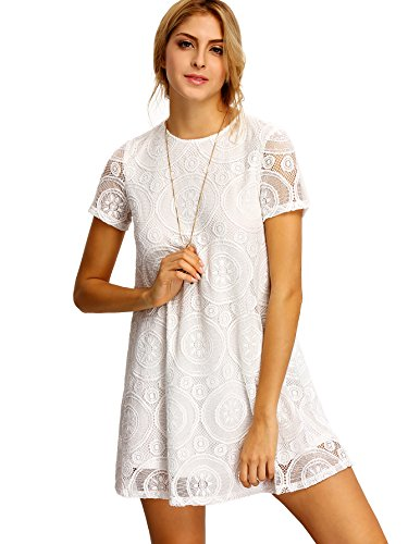 ROMWE Women's Short Sleeve Summer Lace Wide Hem Dress White L