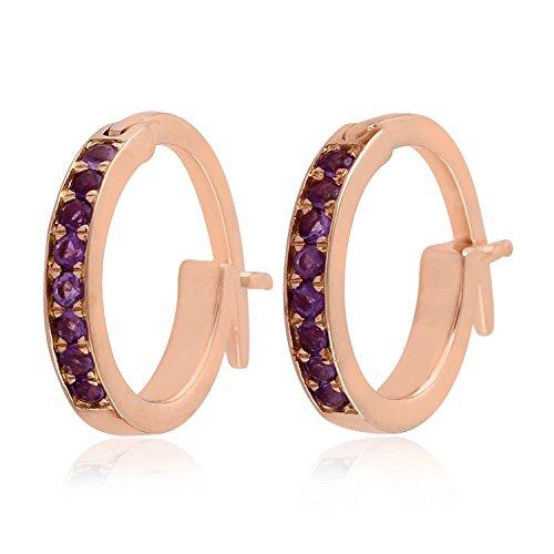 Micropave-Set Amethyst Huggie Hoop Earrings in 18K Rose Gold