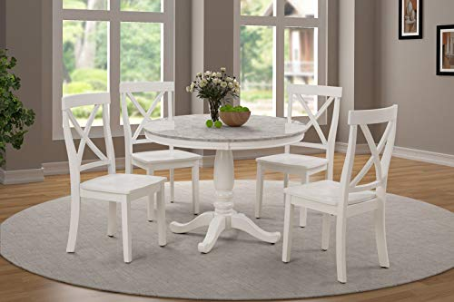 Harper&Bright Designs 5 Piece Dining Set Rubber Wood/ 1 Table with Marble Top and 4 Chair/Kitchen Room Dining Room Furniture ()