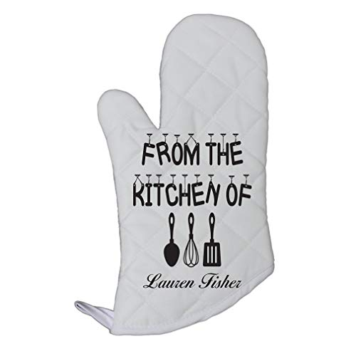 Oven Personalized Mitts - Personalized Custom Text From the kitchen Polyester Oven Mitt Kitchen Mittens