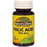 Nature's Blend Folic Acid 1000 mcg 100 Tablets
