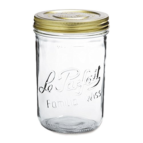Le Parfait Familia Wiss Terrine - 1L Wide Mouth French Glass Mason Jar w/ 2-Piece Gold Lid, 32oz/Quart (Pack of 4) dia.110mm