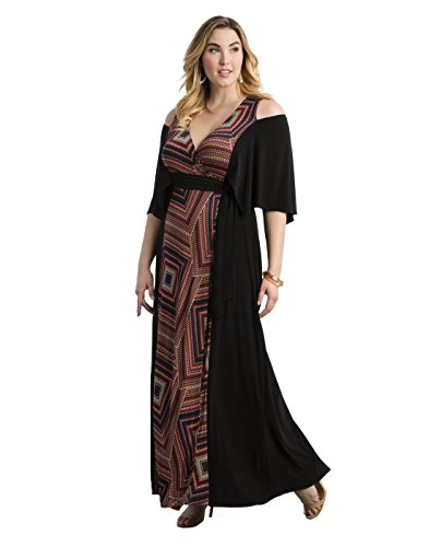 Kiyonna Women's Plus Size Serene Maxi Dress 0X Dot Mix Print