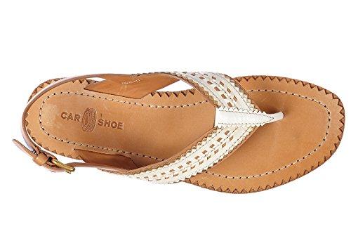 Chaussures De Voiture Femmes En Cuir Tongs Sandales Nature Blanc
