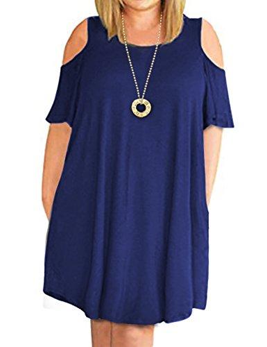 Cpokrtwso Épaule Froid, Plus Des Femmes Taille Mini Balançoire T-shirt Casual Robe Avec Des Poches Bleu Marine