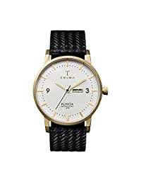 Triwa Ivory Klinga Black Giza Classic Woven Leather Analog Quartz Watch KLST103