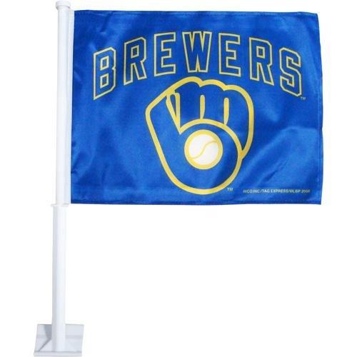 MLB Milwaukee Brewers Ball & Glove Car Flag (Brewers Car Milwaukee Mlb)