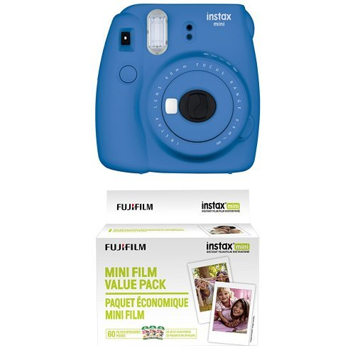 Fujifilm Instax Mini 9 Instant Camera – Cobalt Blue with Value Pack – 60 Images
