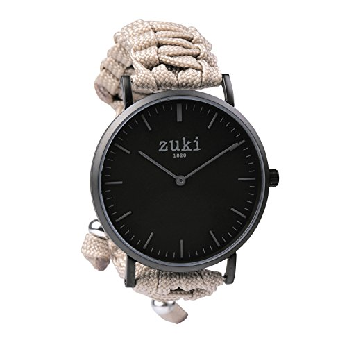 Handcrafted Watch with Beige Paracord Bracelet Band Swiss Quartz Movement with Second Counter Men s and Women s Casual and Fashion Wristwatch Matte Black with Black By zuki