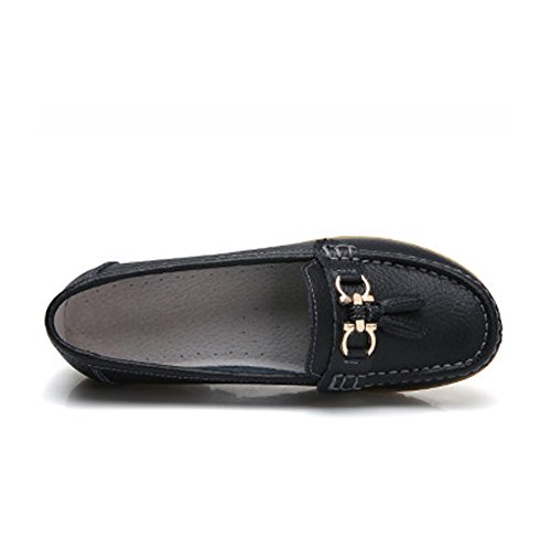 DEARWEN Womens Casual Leather Loafers Slip On Driving Shoes Black MCjab8xE9E