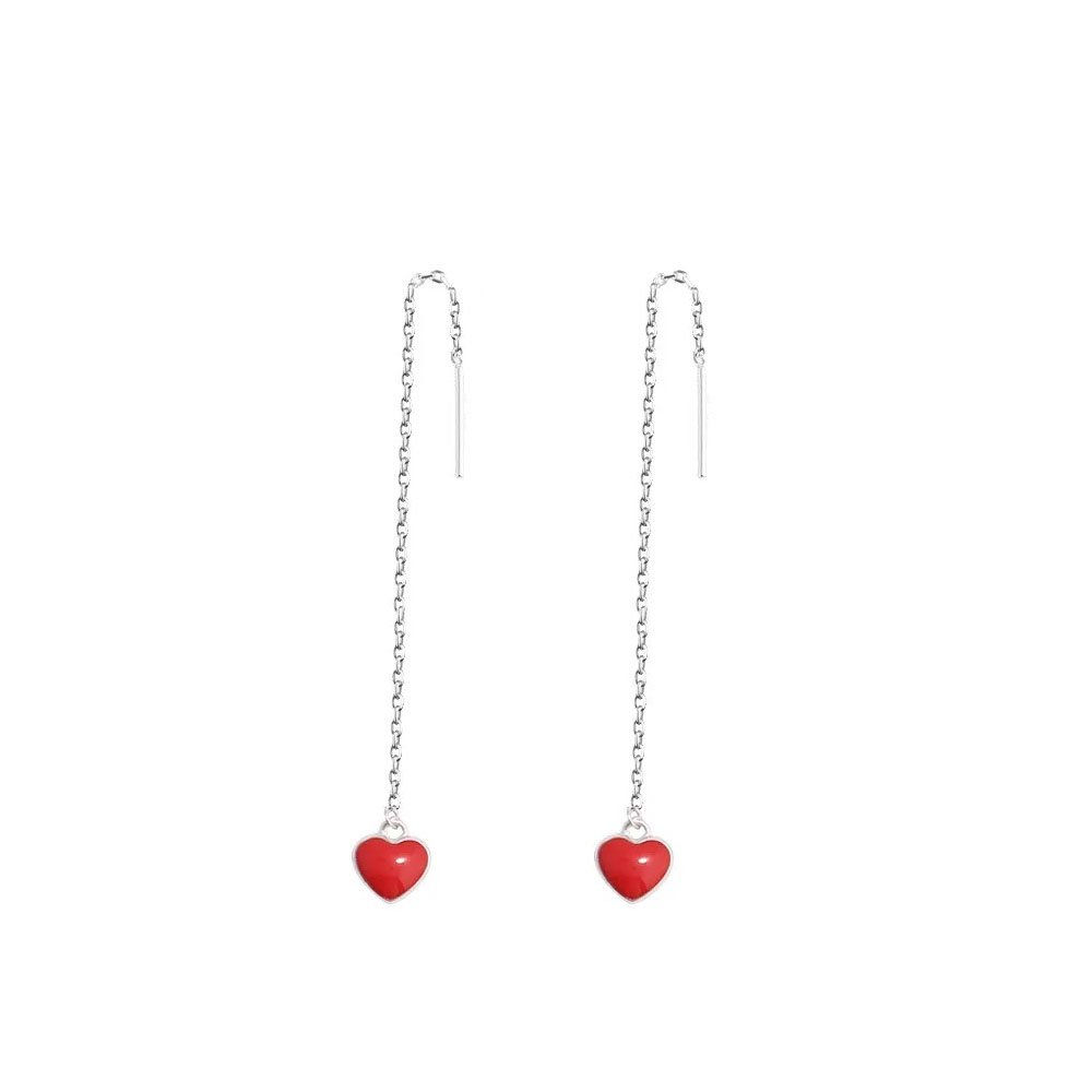 Eleganze Silver Plated Long Dangle Sweet Heart Red Cubic Zirconia Thread Slide Earrings For Women (Red)