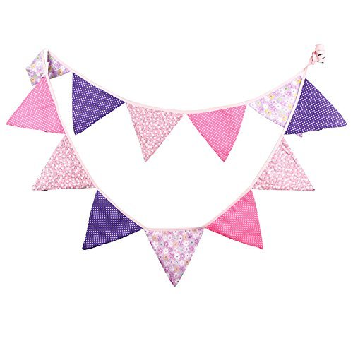 Pink Purple Vintage Fabric Flag Buntings Garlands Wedding Birthday Party Decoration