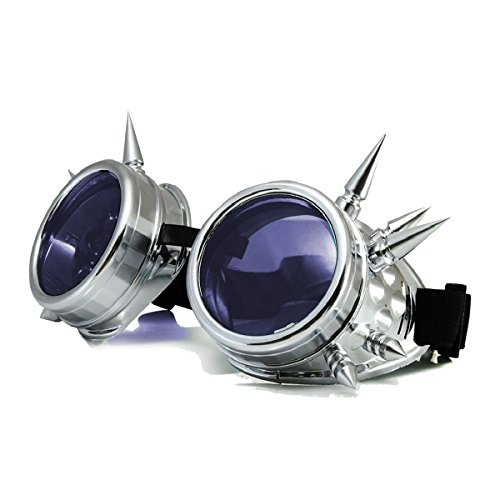 Halloween Cosplay Goggles, Spiked Retro Glasses Free Lens Steampunk - Steampunk Goggles Purple