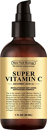 New York Biology Vitamin C Serum for Face and Eye Area - Highest Professional Grade with L Ascorbic Acid - 1 oz (Best Selling Face Serum)