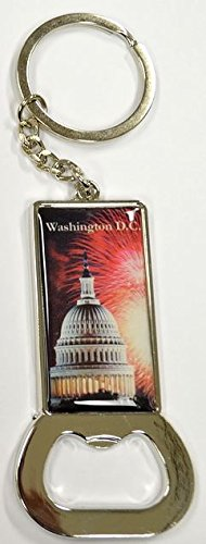 Bottle Washington Opener (US Capitol with Fireworks Landscape Bottle Opener Metal KeyChain- Washington DC Souvenirs)
