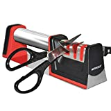 MARKKEER Chef Knife Sharpener & Scissors Sharpener,304 Stainless Steel handle,3-Stage Knife Sharpening Tool Helps Repair,Restore and Polish Blades,Safety,Non-Slip Rubber Base for all Knives & Scissors
