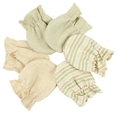 100% Organic Cotton Unisex Baby Scratch Hand Guard Gloves Mittens Pack, Chemical & Dye-Free (Olive - Mix Stripes - Brown)
