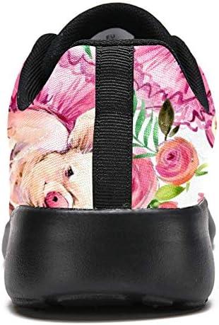 Chaussures de course TIZORAX pour femmes cochons en fleurs en maille respirante pour marche, randonnée, tennis