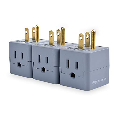 Cable Matters 3-Pack 3-Outlet Grounded Power Cube Wall Tap, 90 Degree Plug Adapter