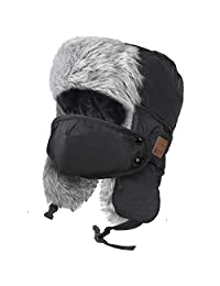 HIGHEVER Bluetooth Trapper hat, Music Hunting Hats with Bluetooth Headphones