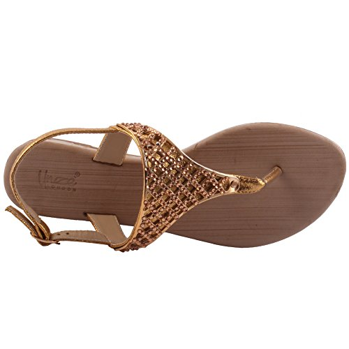 Unze Nuevas mujeres 'Jules' Toe Embellecido Summer Beach Party Reunirse Carnaval Casual Sandalias Planas Zapatos Reino Unido Tamaño 3-8 Gold