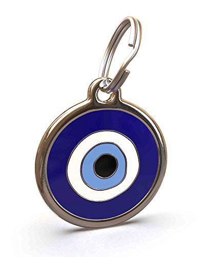 Eye Dog Tag - UNLEASHED.DOG Customizable Engraved Cat/Dog ID Tag - Stainless Steel with Evil Eye Enamel Inlay - Small