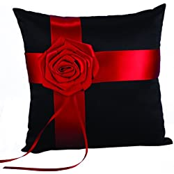 Hortense B. Hewitt Wedding Accessories Midnight Rose Ring Pillow, 8-Inch Square