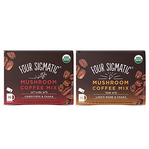 Four Sigmatic Mushroom Coffee Mix Pack of 2 - Lion's Mane and Chaga & Cordyceps and Chaga ()
