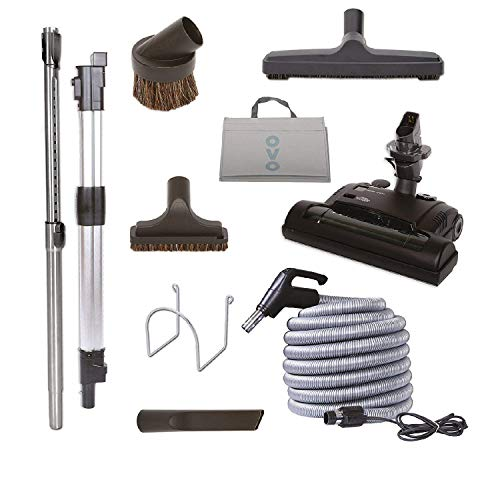 Central Vacuum Carpet Attachment Kit With Adjustable Height Electric Carpet Head - Brush Set Including 40ft Central Vac Dual Votage Switch Control Hose