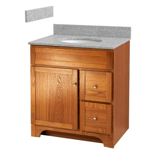 Foremost WROAT3021D-8M  Worthington 30-Inch Oak Bathroom Vanity with Meteorite Gray Granite Top and White Vitreous China Sink - Foremost Oak Vanity