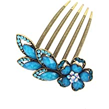 Antique Brass Rhinestone Flower French Twist Updo Comb Blue