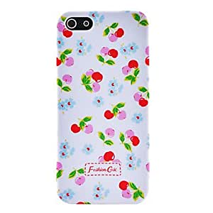 Small Fresh Florals Cherry Pattern Plastic Hard Case for iPhone 5/5S