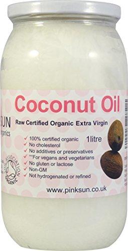 Reines Rohes Roh Bio Kokosöl 1 liter 1000ml in Glasbehälter Extra Vergine Kaltgepresst Unraffiniert- von Soil Association Biologisch Zertifiziert - PINK SUN Raw Organic Coconut Oil