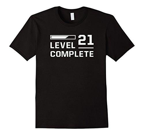 Mens Level 21 Complete 21st Birthday Gift Gamer Geek Gaming Shirt Large Black