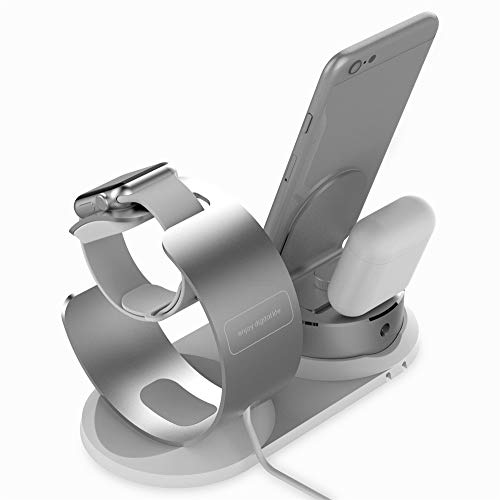 Price comparison product image JDgoods 4 in1 Apple iPhone iWatch Earphone Pencil AirPod Charging Dock Station Holder Silver (Silver)