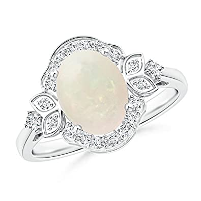 Angara October Birthstone Opal and Diamond Halo Engagement Ring in White Gold qsOxpzl
