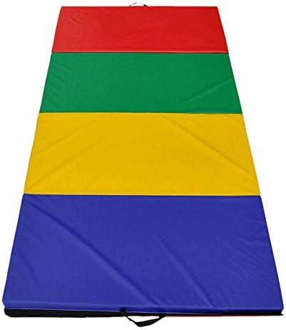 折りたたみ式 体操マット ジムエクササイズフィットネスヨガパッドを実行94x47x1.96インチの4折りたたみパネル体操マット虹色 トレーニングマット (Color : Multi-colored, Size : 240X120X5cm)