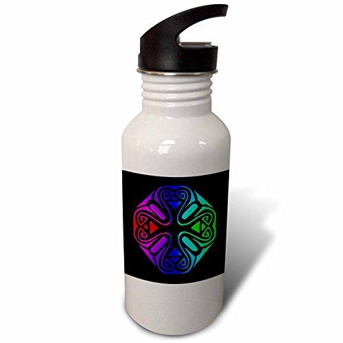 3dRose Russ Billington Designs - Abstract Geometric Motif in Magenta Purple Blue and Green - Flip Straw 21oz Water Bottle (wb_262223_2)