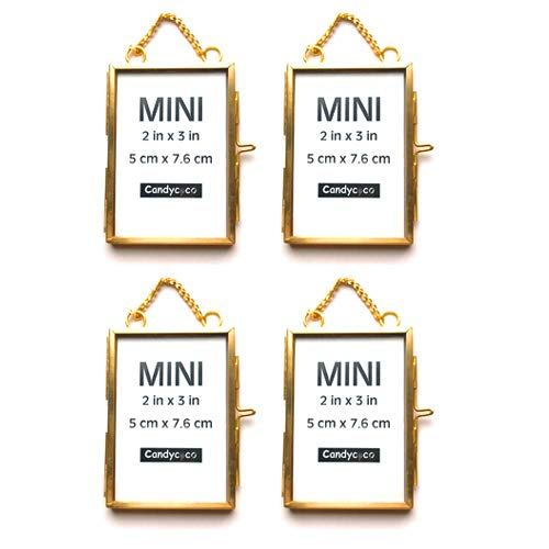 CandyCoCo 2x3 Metal Picture Frame Extra Hanging Mini Photo Frame for Family Tree (Gold, Set of 4)