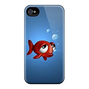 Tpu Shockproof/dirt-proof Fish Iphone Ipod Touch Wallpaper Cover Case For Iphone(4/4s)