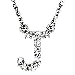 White Gold Diamond Uppercase Letter Initial Pendant