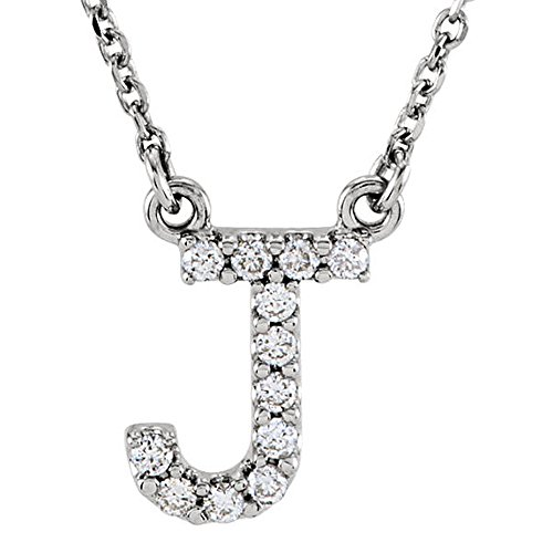 Dazzlingrock Collection 0.12 Carat (ctw) 14K Diamond Uppercase Letter J Initial Pendant (Silver Chain Included), White Gold ()