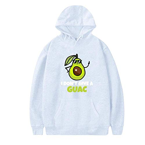 NNaseg Womens Hoodies   Funny Avocado I Don't Give A Guac Print Soft and Velvet Sweatshirt with Pocket S White -