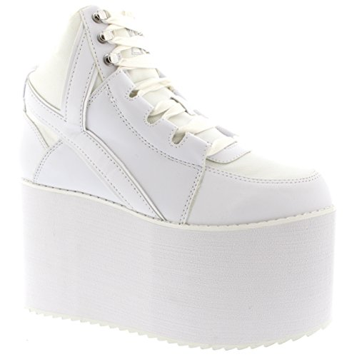 b3346f724a7b Womens Youth Rise Up Qozmo Hi YRU High Top Goth Pumps Wedge Sneakers -  White - 9 - Buy Online in UAE.